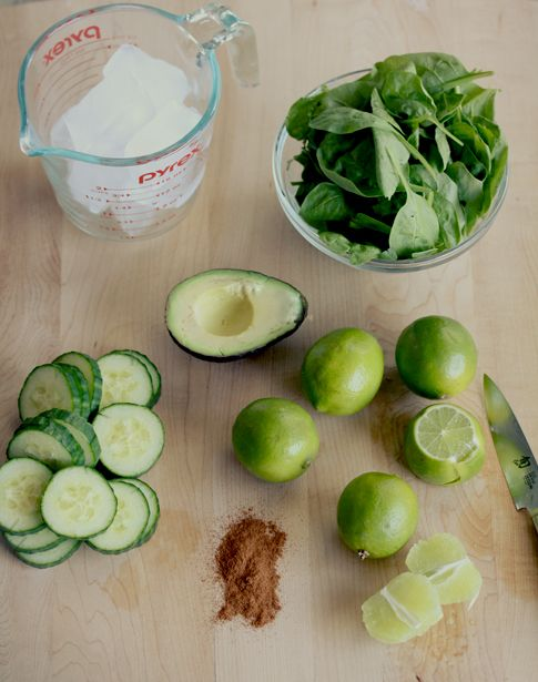 Alkaline Green Smoothie 1/2 english cucumber, sliced 1/2 avocado 2 handfuls baby spinach 3-4  limes, peeled  (adjust to desired amount) 1/2 teaspoon cinnamon liquid stevia to taste [or honey, agave, or sweetener of choice] 6-8 ice cubes