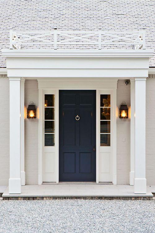 front door color, lanterns, entire door way
