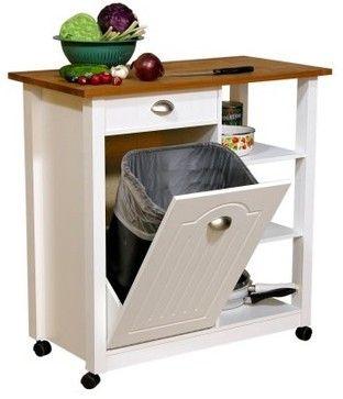 Venture Horizon Butcher Block Top Kitchen Cart with Trash Bin modern kitchen trash cans