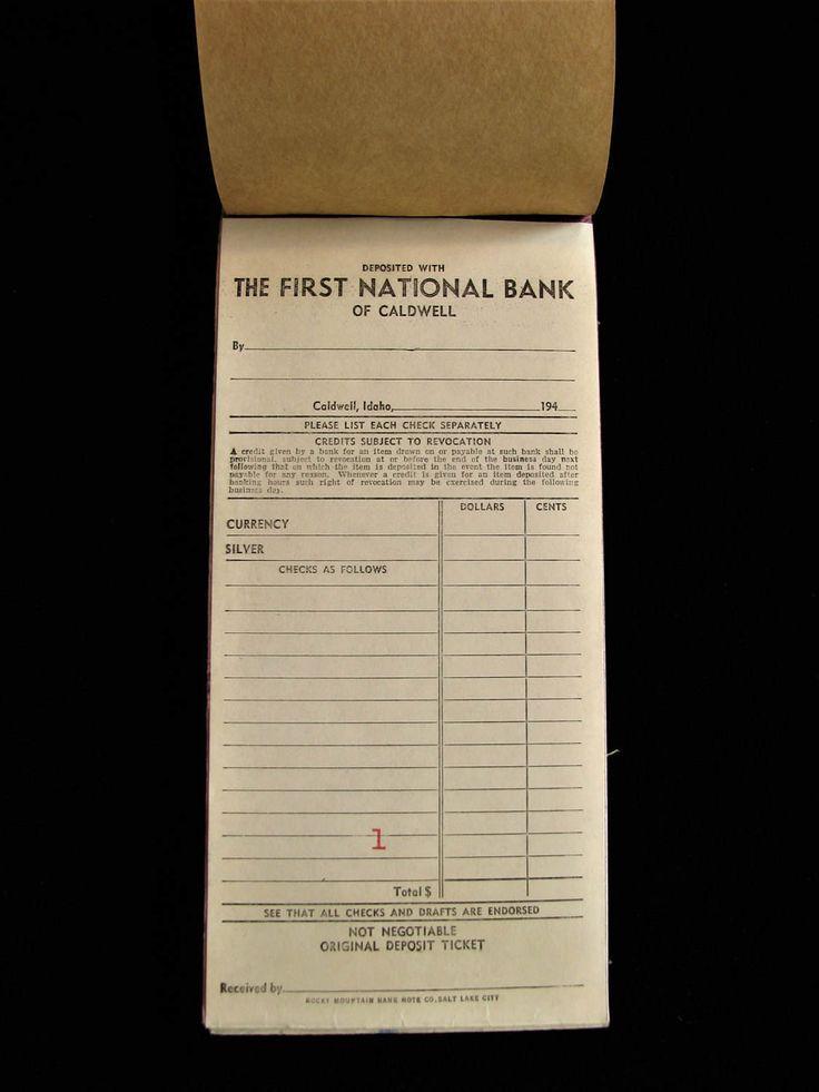 Vintage Bank Deposit Slips, 1940s Idaho Banking Ephemera, Caldwell Idaho, Business Bank Deposits, Carbon Copy Deposit Slips, First National by OldRaven on Etsy