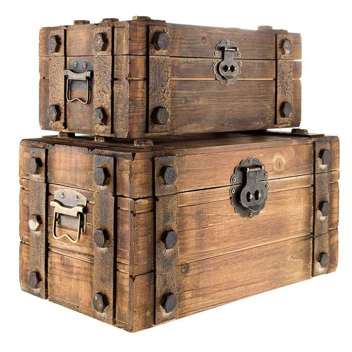 antique brown wood box set with metal bands things i want wood boxes box wooden chest. Black Bedroom Furniture Sets. Home Design Ideas