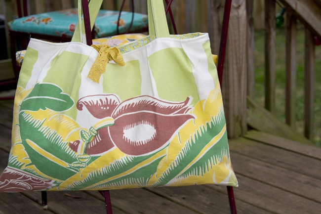 MADE: BEACH BAG.  I have several old (not antique though) 50s style tablecloths and at least one is going to get a new life soon!