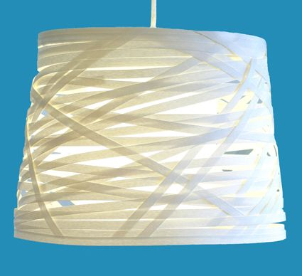 """Simple and elegant! Lamp """"Milky Way"""" (Linnunrata) by the designer Minna Ahonen. Made of traditional Finnish artist´s paper ribbon. Material kit from the arts & crafts shop Taito Pirkanmaa."""