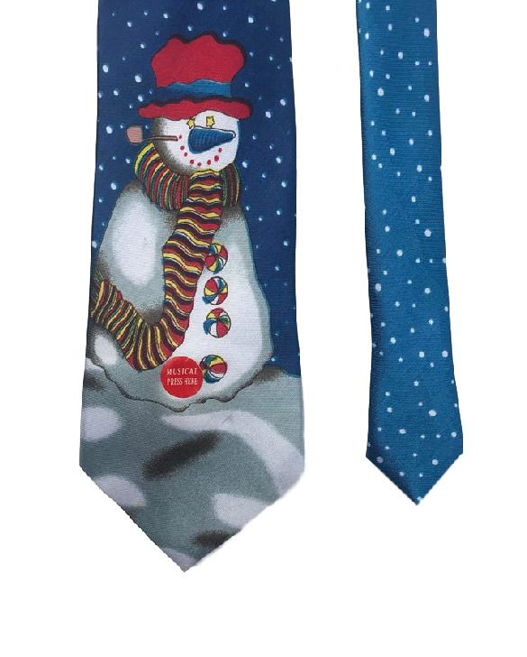 Fun Tyme Christmas Snowman X-Mas Santa Plays Music 100% Polyester Men's Neck Tie #FunTyme #Tie #snowman #menswear #mensfashion