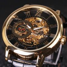 2016 FORSINING Fashion Design Black Gold Watch Automatic mechanical watch for men black leather band Relogio Male Free Shipping