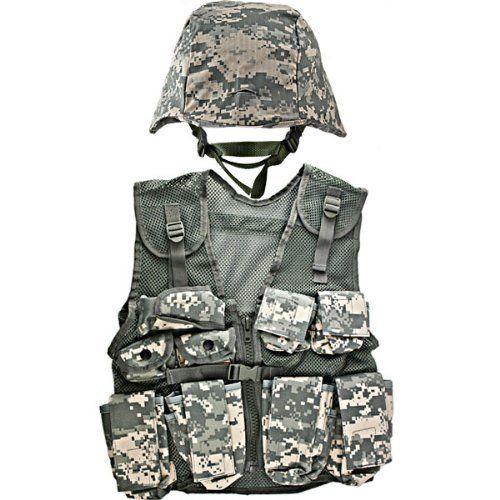 kidsarmy acu helmet and kids acu combat vest combo by kidsarmy