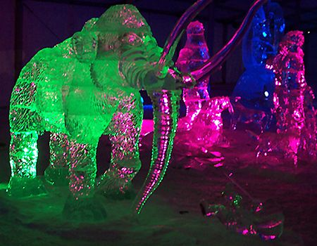 when lighting turns the ice sculptures into a magnificent sight