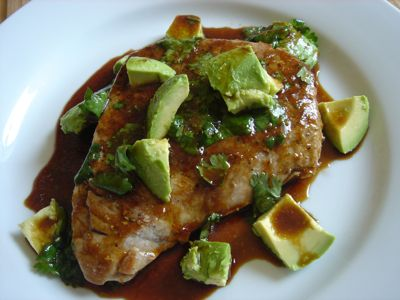 Seared Tuna Steak w/ Avocado & Cilantro Lime Dressing. I made this last week - so good and easy. Served over brown rice.