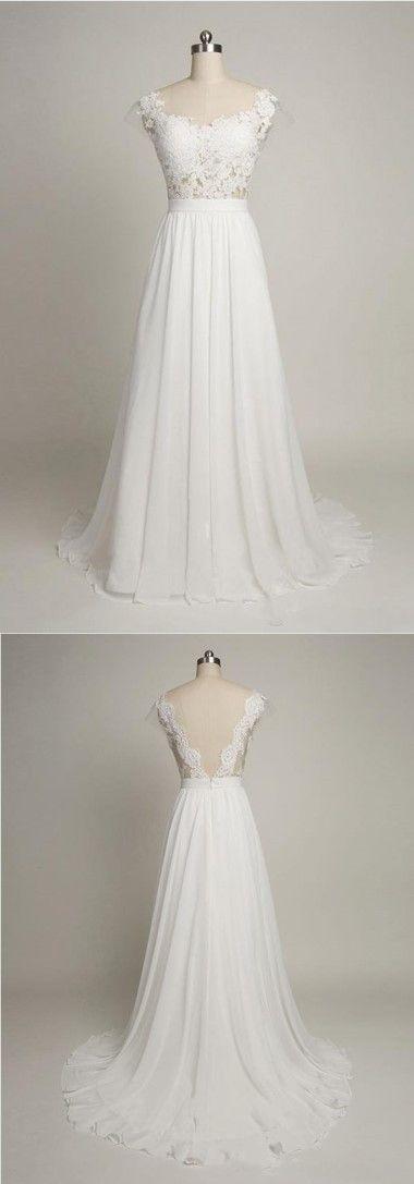 Einfache A-Linie Brautkleid, Cap Sleeves Brautkleid, Schatz Chiffon … #brautk – Hochzeitskleid