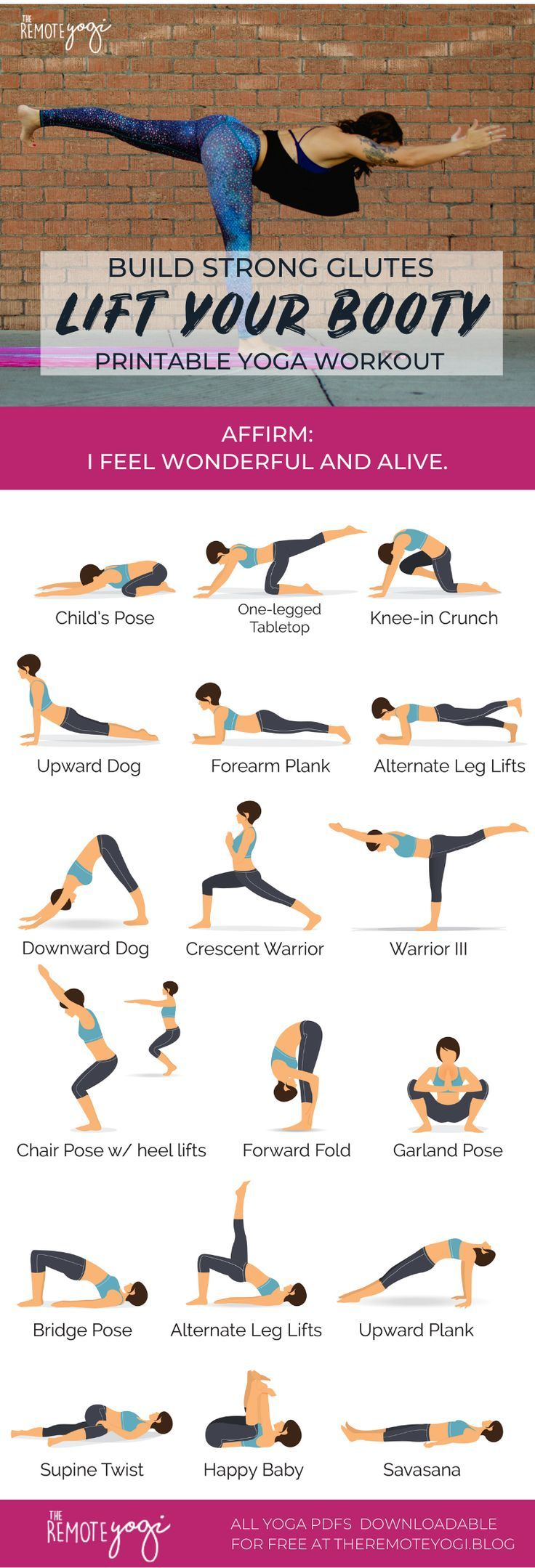 Yoga Sequence for Strong Glutes – Printable PDF Cheers to glute muscles! These three major muscles not only look super sexy, but strong glutes can help you avoid future injury. They're one of the key areas to focus on if you want to enjoy a safe… Yoga Flow, Yoga Meditation, Sport Fitness, Yoga Fitness, Major Muscles, Yoga Moves, Yoga Routine, Exercise Routines, Exercise Motivation