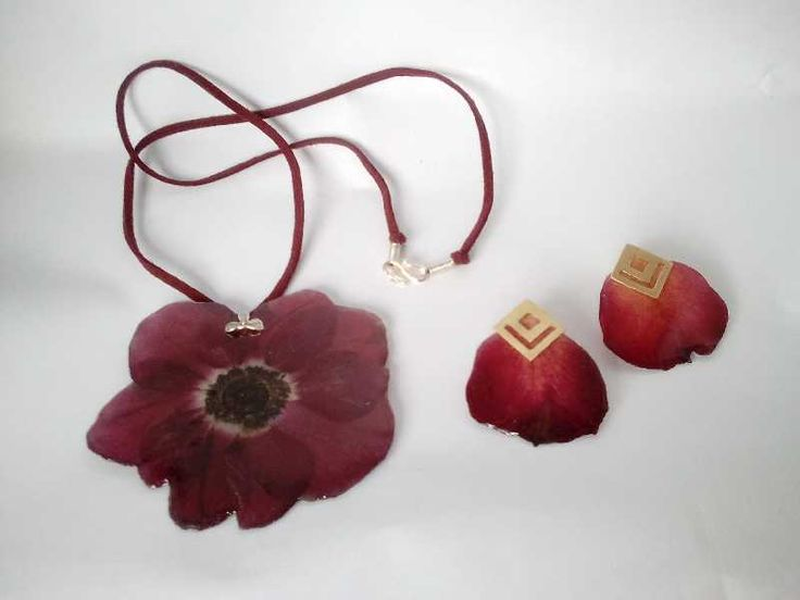 necklace & earrings with natural dark red roses flowers - No141-142