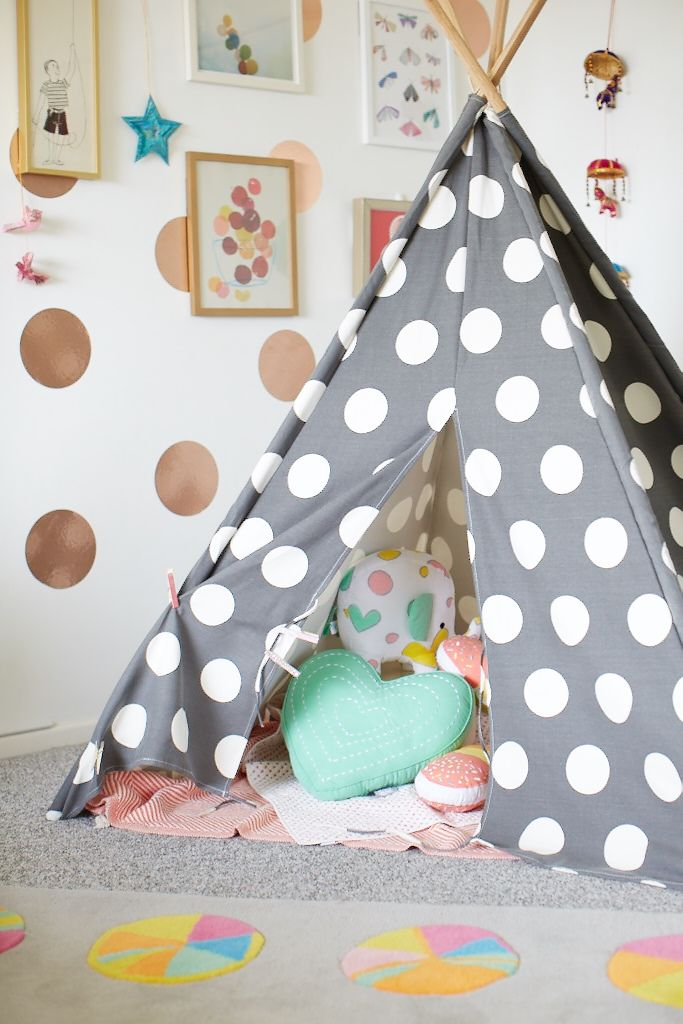 Fill a teepee with pillows and they'll love having cozy adventures inside.