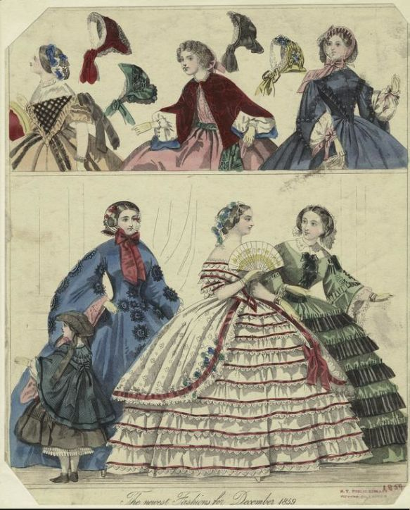 Yes to these dresses! Holiday-ready clothing, highlighted in these December fashion spreads from the mid to late 1800s.
