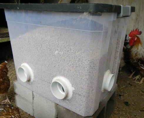 Great idea for a DIY chicken feeder! http://blog.mypetchicken.com/2015/10/05/diy-no-waste-feeder/