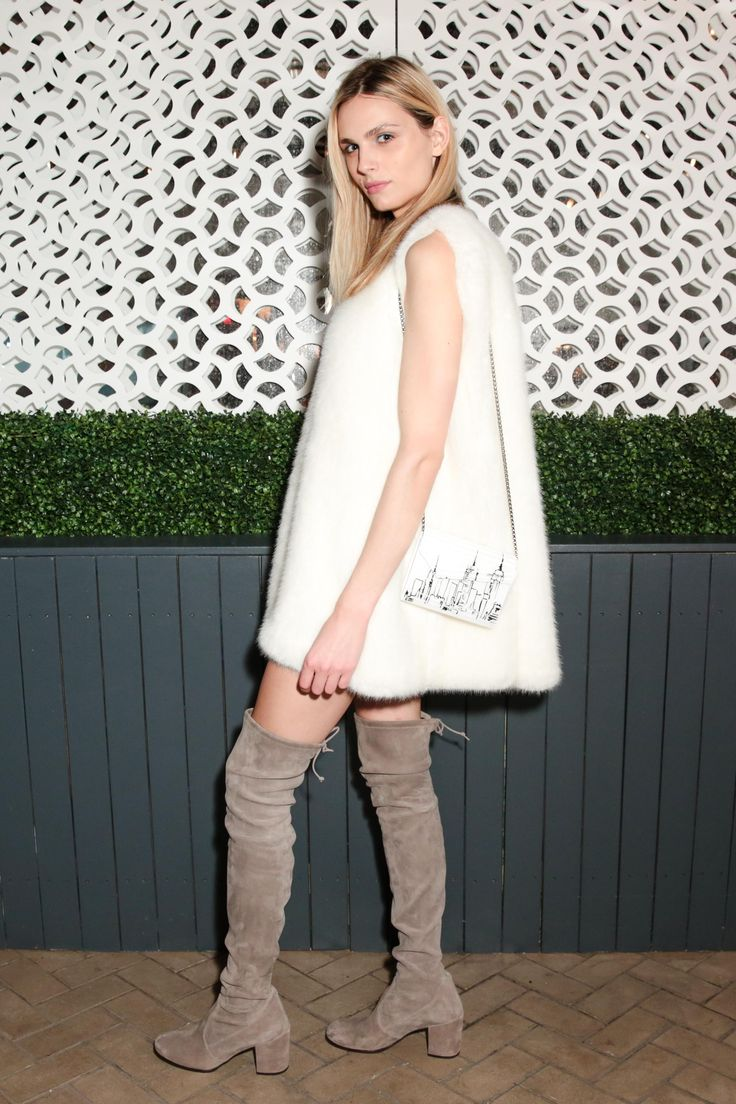Andreja Pejic in the TIELAND thigh high boots at the SW x Vogue New York Fashion Week Dinner Event, Sept 12, 2016