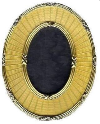 Faberge Oval Photo Frame.  Made in an opulent jewel gold enamel with exclusive 22ct gold trim and finished with luxurious velvet backs.