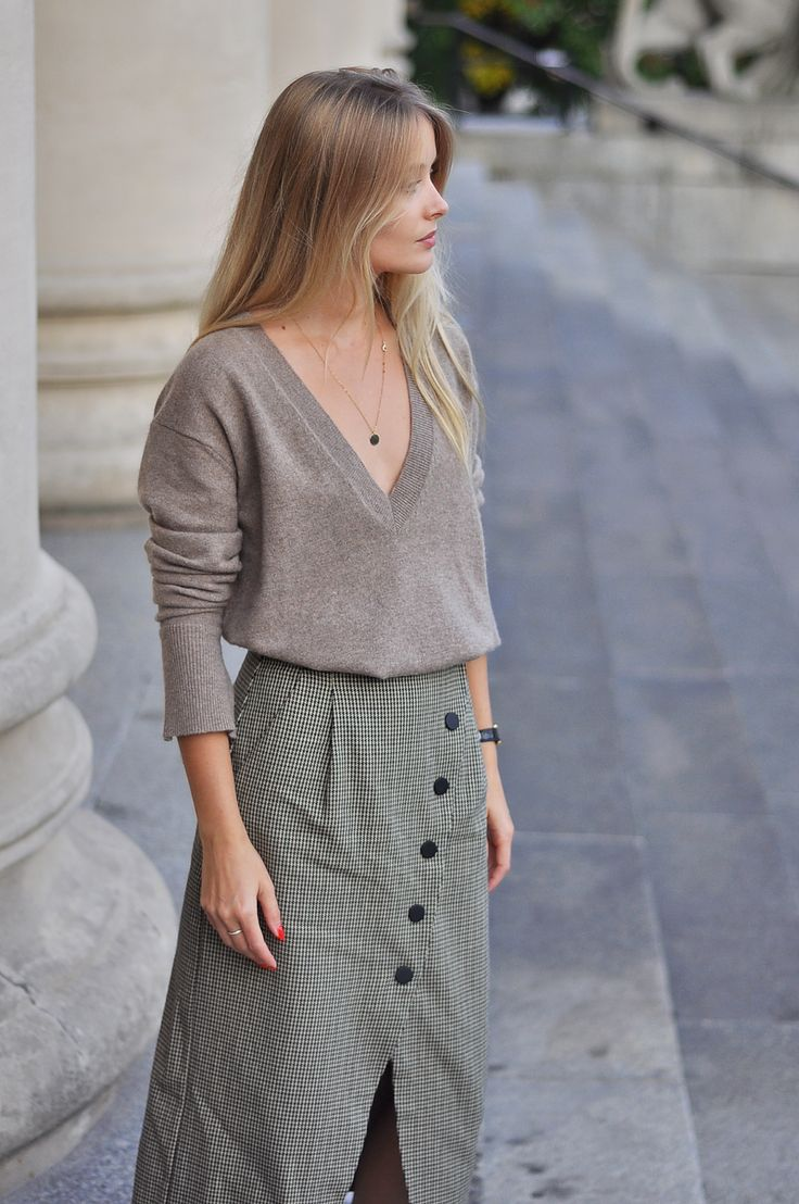 HOUNDSTOOTH PATTERNED SKIRT | NEUTRALS: PATINESS