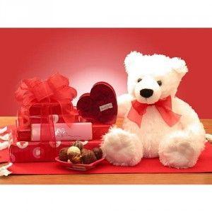 Chocolates And Teddy Bear Gift Basket By Teddy Bear. Cute Valentine IdeasValentine  Day ...