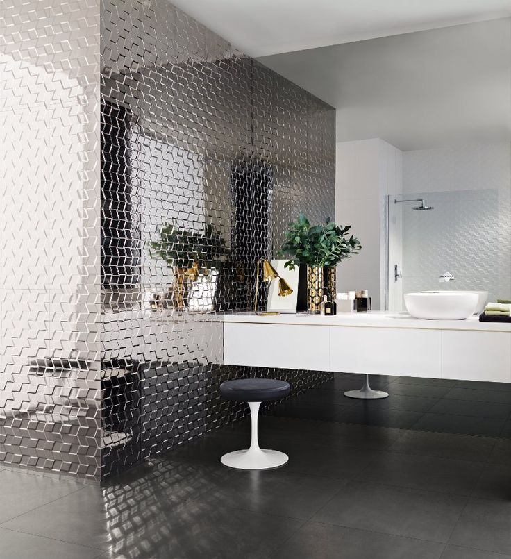 Ceramic 3D Wall Cladding HOME By @Adrienne Raptis Tiles #bathroom  #interiors #metal