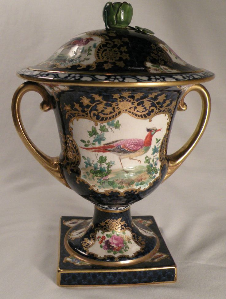 1048 BOOTHS WORCESTER STYLE TWIN HANDLED HAND PAINTED LIDDED URN UNMARKED