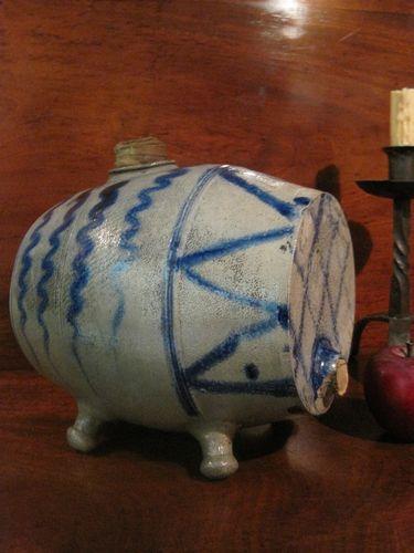 "Antique 1700's Colonial Historic Salt Glazed Stoneware Folk Art Cobalt Blue Decorated Tavern ""PIG"" Keg for Spirits  For Sale North Bayshore Antiques...~♥~"