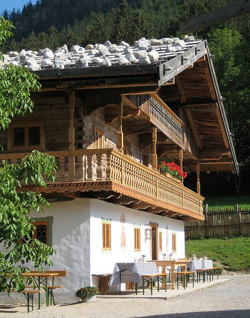 Bayern, Bavaria, Germany - I found it most interesting that the livestock are housed in the bottom of the house and the family lives on top. The two main reasons for this are the ease of caring for the animals when they are so close and the heat generated by their bodies help maintain the warmth of the house above them. chh