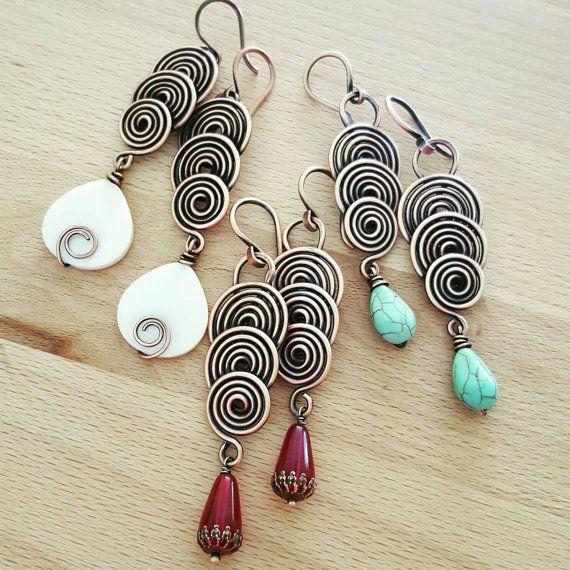 A spirale lungo orecchini turchese gioielli di FromRONIKwithLove