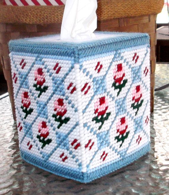 Beautiful Floral Bathroom Tissue Box Cover by TissueMart on Etsy, $18.00