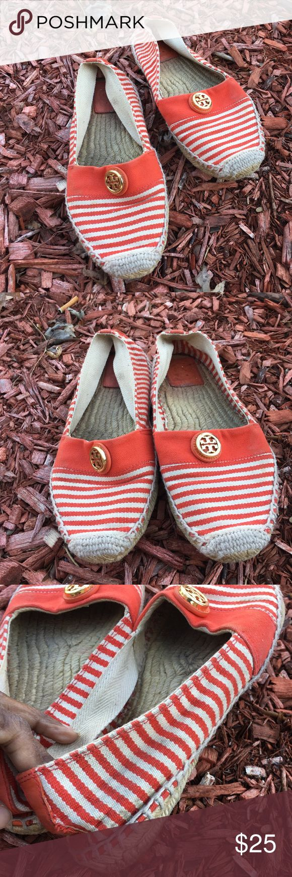 Tory Burch Cream & Orange Espadrilles - Sz 9 🌟🌟 Please read 🌟🌟- these shoes have flaws. There are stains on the top of the shoe that could be washed off, the sole on one shoes has the rubber lifting (can be glued down), the back has been walked on and the inside has wear. These are great shoes for that right person. Tory Burch Shoes Espadrilles