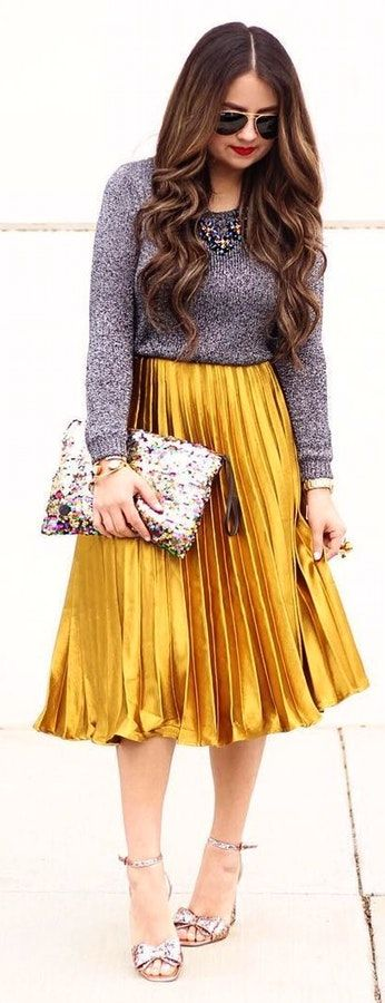 #winter #fashion /  Grey Knit / Gold Metallic Pleated Skirt / Sequins Clutch / Bow Sandals