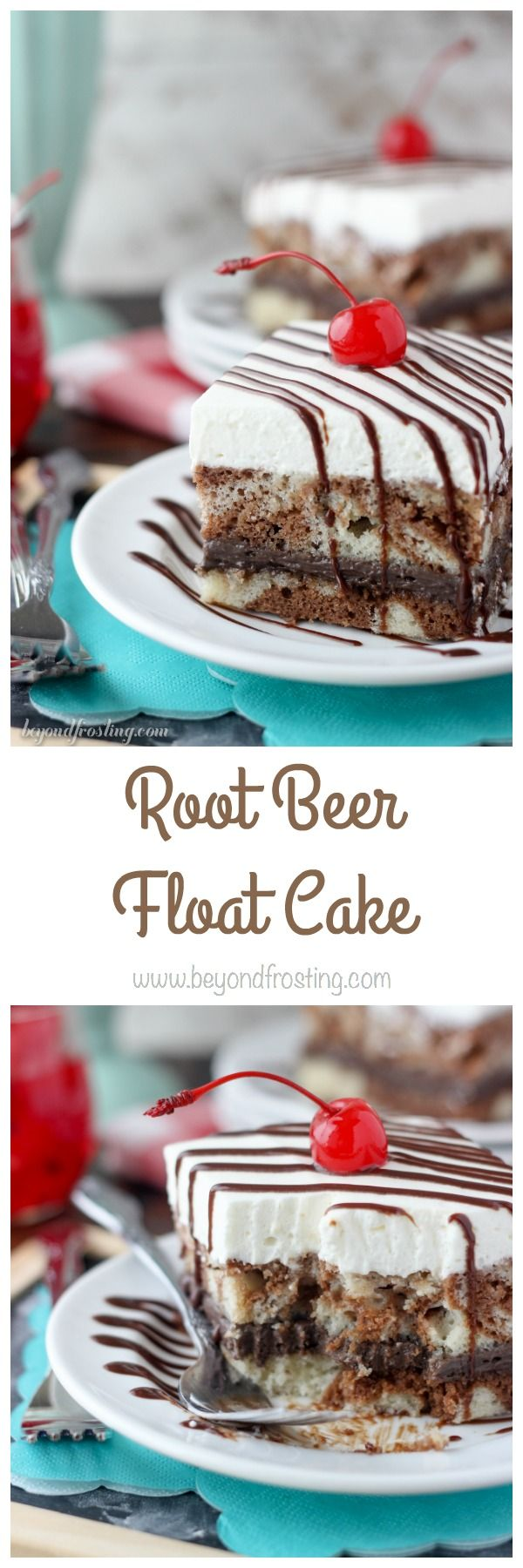 Everyone loved this Root Beer Float Cake!! The cake is a vanilla and chocolate root beer marbled cake with a layer of chocolate cream and a root beer whipped cream.