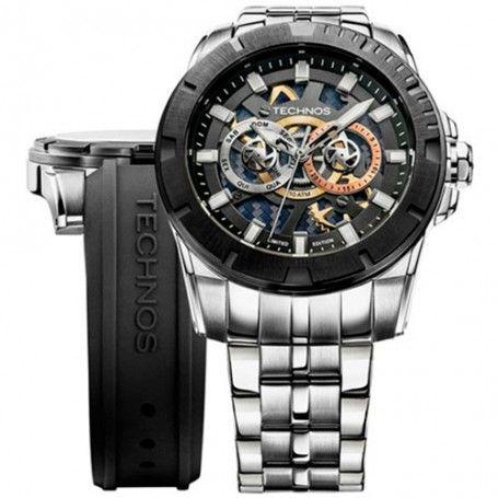 Relógio Technos Masculino Performance Carbon Troca Pulseira 6P75AA/1P