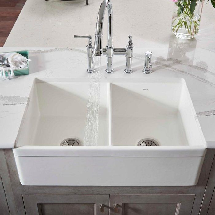33″ L x 20″ W Double Basin Farmhouse Kitchen Sink