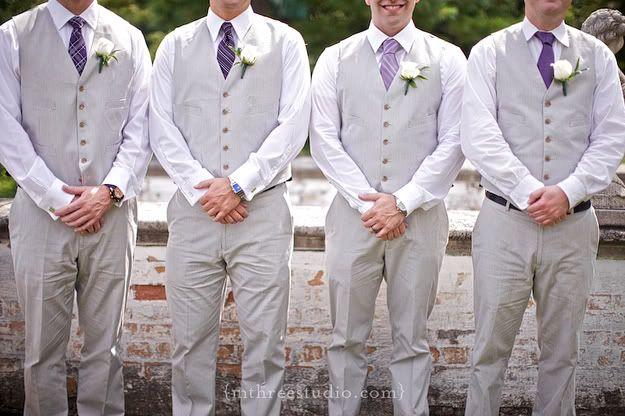 Lake Park Bistro Wedding   Villa Terrace Wedding   Italian Villa Wedding   French Bistro Wedding   DIY Wedding groomsmen in vests, purple ties, purple groomsmen, grey groomsmen suits photo by m three studio