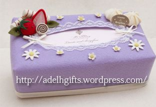 Chic Purple felt tissue box