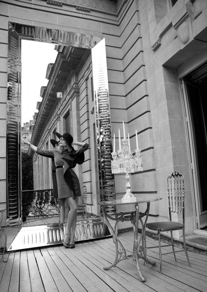 Dress and shoes: @Julie Boulet  Equipo de trabajo  Fotografo: Raúl Higuera  Locación: Maison Baccarat Designed by Philippe Stark Fashion Styling: Sacha Noblet  Hair: Marc Orsatelli Model: @Ioanna Ntenti