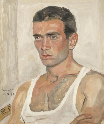 Yannis Tsarouchis (Greek, 1910-1989), Portrait of a dancer, 1959. Oil on canvas, 56 x 48cm.