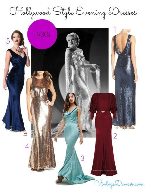 1930s old Hollywood glamour dresses available to buy.
