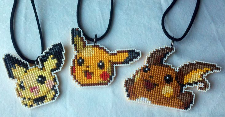 Craftiness... Starrley's Stitchings: Pikachu Evolution Necklace Set