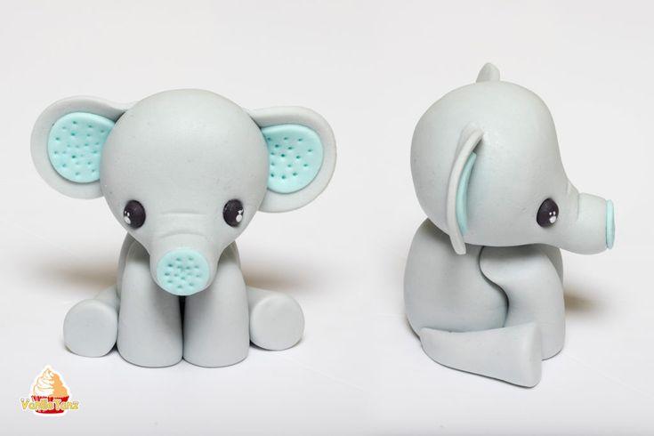 Super Anleitung für einen Elefanten Topper aus Fondant. Kleiner Elefant als Tor…