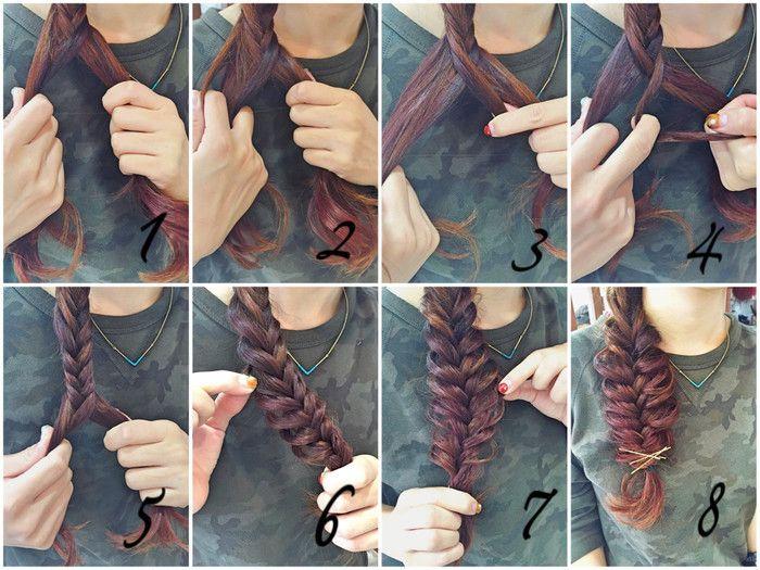 基本のやり方を簡単に説明します☆  1.毛束を半分に分けたら交差させた後、左側の髪を少し取り上から右に渡します。  2.この動きを交互にしていくだけ!  複雑に見えて意外と工程は単純ですよね。