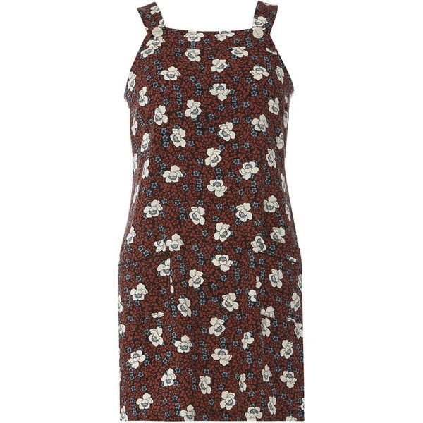 Dorothy Perkins Petite Floral Print Pinny Dress (£25) ❤ liked on Polyvore featuring dresses, ginger, petite, petite floral dress, floral day dress, pinafore dresses, botanical dress and dorothy perkins