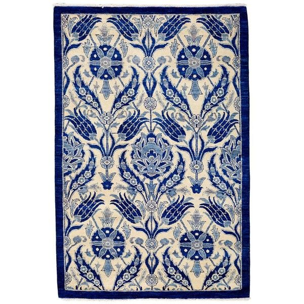 """Suzani Collection Oriental Rug, 4'3"""" x 6'8"""" (€1.435) ❤ liked on Polyvore featuring home, rugs, backgrounds, furniture, blue, asian rugs, suzani area rug, blue area rug, handmade rugs and oriental rug pads"""