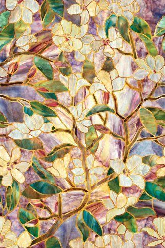 "Morning Blossom Stained Glass Window Film, 27.75HX2.25W, MULTI by Home Decorators Collection. $26.00. 24"" W x 36"" L.. Our Morning Blossom Stained Glass Window Film provides privacy along with the decorative look of stained glass. The repeating pattern enables a vertical or horizontal fit that self adheres to any smooth glass surface. Made of a durable vinyl that can be removed in minutes and leaves no residue. Not affected by heat, cold, steam or humidity. Provid..."