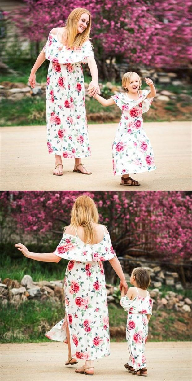 f36f8d649 Pretty Rose Printed Ruffles Strappy Maxi Dress for Mom and Me  #matchingoutfit #toddles #