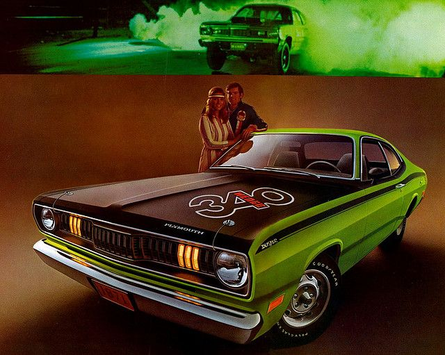 1971 Plymouth Duster 340. I always liked the idea of putting those huge numbers on the hood. :-)