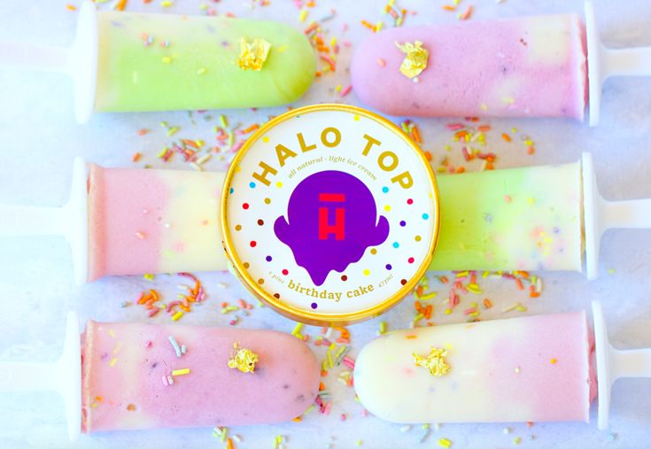 CREDITS TO LIZ SHAW, MS, RDN, CLT  YIELDS 6 POPSICLES   ingredients:  2 pints Halo Top Ice Cream  1/3 cup milk of choice  2 tablespoons natural sprinkles  Pistachio-Lemon Popsicle  Yield: 2 popsicles  1 cup Halo Top Pistachio Ice Cream  1 cup Halo Top Lemon Cake Ice Cream  2 tabl