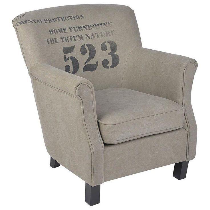 """Πολυθρόνα """"523"""" υφασμάτινη σε χρώμα χακί INART 251-0004"""