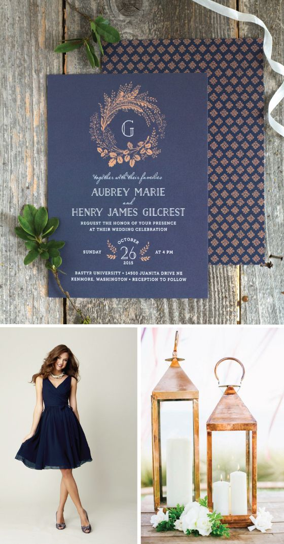 Navy and Copper Wedding Inspiration | The Elli Blog