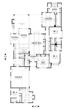 Bedroom 3& Den for the inlaw suite, flip plan, add a third car garage, bedroom 4's area for the Gunroom. Multigenerational House Plan 1234B -The Harriet | houseplans.co